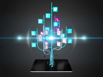 Social media icons set in tree shape on Modern black tablet pc Stock Image