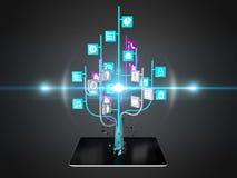 Social media icons set in tree shape on Modern black tablet pc Stock Image