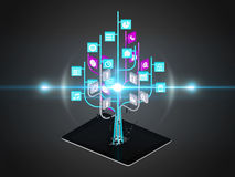 Social media icons set in tree shape on Modern black tablet pc Stock Photos