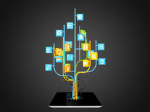 Social media icons set in tree shape on Modern black tablet pc Stock Images
