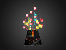 Social media icons set in tree shape on Modern black tablet pc Royalty Free Stock Photos
