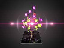 Social media icons set in tree shape on Modern black tablet pc Royalty Free Stock Image