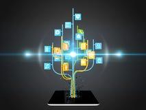 Social media icons set in tree shape on Modern black tablet pc Stock Photos