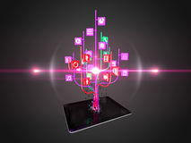 Social media icons set in tree shape on Modern black tablet pc Royalty Free Stock Photography