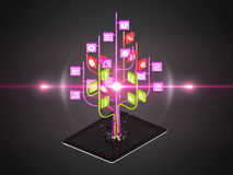 Social media icons set in tree shape on Modern black tablet pc Stock Photo