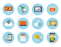 Social media icons. Set for web and mobile applications of mobile marketing, pay per click, social media, website analytics, seo, technical support concepts Royalty Free Stock Images