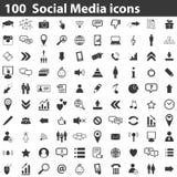 100 social media icons. Simple black images on white background stock illustration
