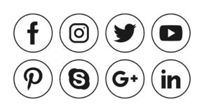 Social media icons. Simple vector filled flat Social media icons solid black pictogram isolated on white background royalty free illustration