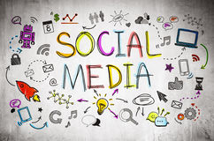 The Social Media Icons Sketch Stock Photo