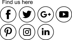 Social media icons. Logo flat black round web buttons - vector illustration