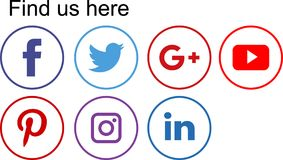 Social media icons. Logo flat round web buttons - vector illustration Stock Photography