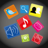 Social  media. Social media icons on special background, vector illustration Royalty Free Stock Image