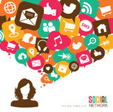 Social media. Icons & speech bubbles with a young women Royalty Free Stock Photos