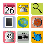 Social media. Icons on squares with different color Stock Image