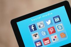 Social Media icons on Tablet PC Computer Technolog Royalty Free Stock Photography