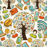 Social media icons tree pattern Royalty Free Stock Photos