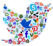 Social media icons in a twitter bird background Stock Image