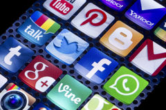 Social media icons Twitter, Facebook and other on smart phone screen close up Royalty Free Stock Image