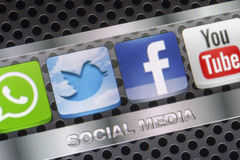 Social media icons Twitter, Facebook, Youtube and other on smart phone screen close up Royalty Free Stock Photos