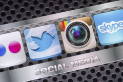 Social media icons Twitter, Instagram and other on smart phone screen close up Royalty Free Stock Photo