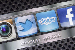 Social media icons Twitter, Skype and other on smart phone screen close up Stock Photography