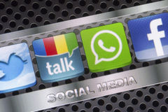 Social media icons Twitter, Whatsapp, Facebook, and Google talk on smart phone screen close up Royalty Free Stock Image