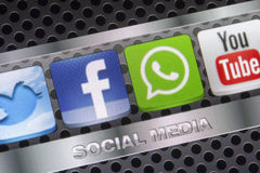 Social media icons Twitter, Whatsapp, Facebook, and Youtube on smart phone screen close up Stock Photo