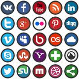 Social media icons. Vector set of 25 social media icons Stock Photography
