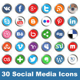 Social media icons. Vector set of 30 social media icons Stock Images