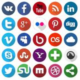 Social media icons. Vector set of 25 flat social media icons Royalty Free Stock Photos