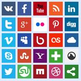 Social media icons. Vector set of 25 flat social media icons Stock Photography