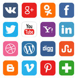 Social media icons. Vector set of 16 social media icons. Vector illustration Stock Photo