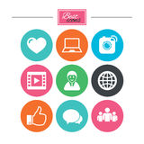Social media icons. Video, share and chat signs. Human, photo camera and like symbols. Colorful flat buttons with icons. Vector stock illustration