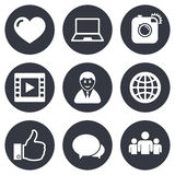 Social media icons. Video, share and chat signs Royalty Free Stock Image