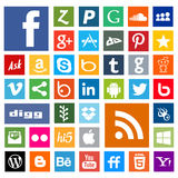 Social media icons and web icon in flat square shape Royalty Free Stock Photos