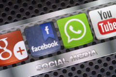 Social media icons Whatsapp, Facebook and other on smart phone screen close up Stock Photos