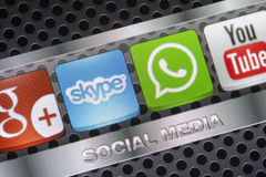 Social media icons Whatsapp, Skype and other on smart phone screen close up Stock Images