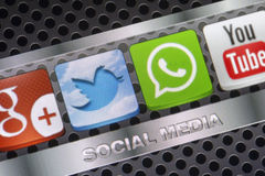 Social media icons Whatsapp, Twitter and other on smart phone screen close up Royalty Free Stock Photo