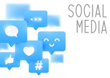 Social media icons on white. Background Vector Illustration