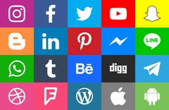 Social media rounded and colorfull. Collection of popular social media icons Facebook Twitter Instagram LinkedIn Pinterest Youtube WhatsApp Snapchat Messenger vector illustration