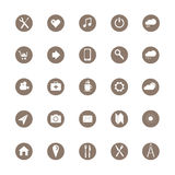 25 social media icons. Set of icons and buttons/25 social media icons.White icons on brown background.Vector illustration EPS10 Stock Image