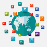 Social media icons in world globe Stock Photo