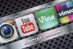 Social media icons Youtube, Vimeo, Vine and other on smart phone screen close up Stock Image