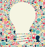 Social media idea texture. Social media icons texture with lamp shape composition background Stock Photography