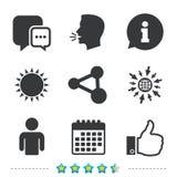 Social Media-Ikonen Chatsprache Blase und Anteil Stockfotos