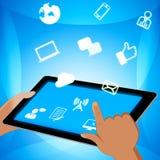Social Media-Ikonen, die on-line-Illustration der Beitrags-3d darstellen stock abbildung