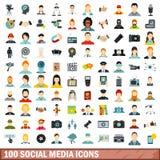 100 Social Media-Ikonen eingestellt, flache Art Stockfotos