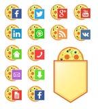 Social Media-Ikonen für Pizzeria Stockbilder