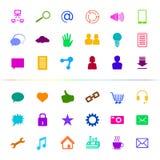 Social Media-Ikonen-Knopf Mehrfarben Stockbilder