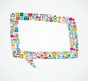 Social Media-Ikonen lokalisierten FI der Spracheblase EPS10 Stockfotografie